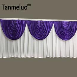 botín de mesa de bodas de oro Rebajas 20 pies (6 M) Longitud blanca y púrpura de seda del hielo de la falda sólida mesa con el Swag de decoración de la boda del vector del oro Zócalo