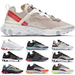 Zapatillas deportivas online de mujeres baratas. online-Nike React Element 55 87 Zapatillas de running para hombres Mujeres Triple Negro Vela Solar Rojo Total naranja Diseñador Sport Zapatillas de deporte Venta en línea