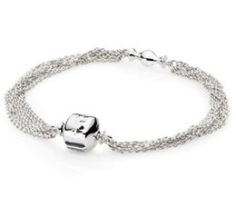station chain Coupons - 925 Sterling Silver Pan Bracelet Multi Strand One Clip Station Snake Chain Bracelet Bangle Fit Bead Charm Diy Jewelry