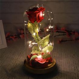 2019 fiori rossi rosa fresca Red Forever LED Fiore incandescente Rosa di seta rossa Immortale Rosa fresca in vetro Festa della mamma Luce a led con petali caduti in un bicchiere fiori rossi rosa fresca economici
