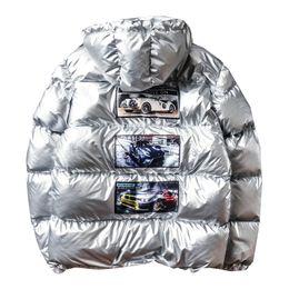 Brillanti cappotti invernali online-2018 New Winter Glossy Down Parka For Man Caldo luminoso giacca colorito Kindy Maschio Slim Zipper Jacket Uomo giacca a vento Oversize Coat