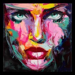grande lona arte preto branco Desconto Françoise Nielly espátula Impression Acolhimento Obras Modern Retrato Pintura a óleo Handmade na lona côncavas e convexas textura Face117