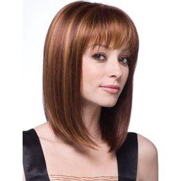 Capelli duri d'oro online-Parrucca moda donna di buona qualità parrucca capelli lisci marrone chiaro color oro pacchetto individuale spedizione gratuita