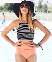 2019 Mujeres Bikini Set Sport Tank Striped Top + cintura alta rosa / naranja inferior verano cintura alta trajes de baño trajes de baño S-XL desde fabricantes