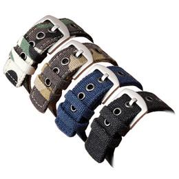 2019 schwarze nylon armbänder Uhr Armband Camouflage Nylon Mesh Armbänder Frauen Männer Schwarz Sportuhren Gürtel Zubehör 20mm 22mm 24mm Leinenband günstig schwarze nylon armbänder