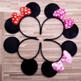 hair hoop stick Promo Codes - 5 Color Girls hair accessories Mouse ears headband Children hair band Baby kids cute Halloween Christmas cosplay headdress hoop 0601962