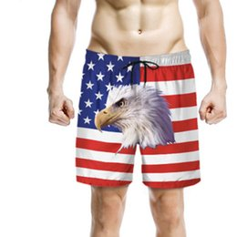 2019 rote kapuzenausschnitt Sommer USA Flagge Mann Shorts Strand Männer Badehose Quick Dry American Flag Hawk Mode Mann Strand Shorts Hause Kleidung M-2XL