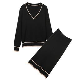 rock sport-set Rabatt 2018 Frühling Herbst langärmelige Sportbekleidung Frauen gesetzt Frauen Pullover stricken Sportanzug beiläufige Hosen zweiteilige Anzug neuen Rock