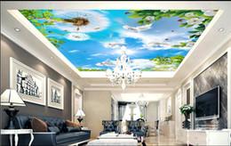 Grüne blätter tapete online-Benutzerdefinierte 3D Wallpaper RollBlue Himmel Löwenzahn weiße Taube Blätter grün UmweltschutzBedroom Wohnzimmer Decke Dekoration Wandbild Wand