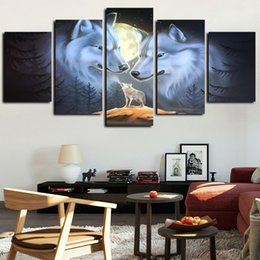 couple cartoon painting Promo Codes - 5 Panels White Wolf Couple Painting Moon Artworks Canvas Wall Art for Home Wall Decor Abstract Poster Canvas Print Oil Painting