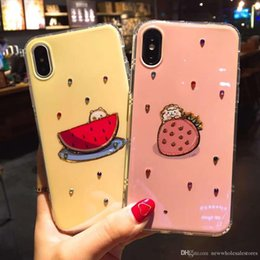 2019 caso di frutta 3d di iphone UK UK0001 Dettagli sulla custodia morbida in stile di design di cristallo di frutta con diamante 3D di moda per iPhone X 8 6 7Plus FRUIT custodia carina E271 caso di frutta 3d di iphone economici