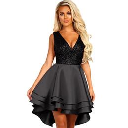 Robes courtes sexy en Ligne-Nouvelle robe européenne et américaine sexy col en v jupe en forme de A sans manches taille haute devant courte robe longue dos