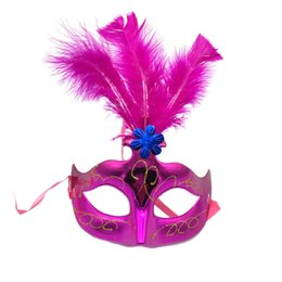 Canada 2pcs / lot femmes filles vénitienne Venise masques de plumes Carnaval Halloween mascarade Cosplay Costume Party Supplies Offre