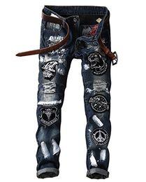 2019 patchs biker rocker LAMCORD Hommes Jeans Biker Biker Motif Slim Fit Slim Fit Denim patchs biker rocker pas cher
