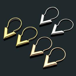 2019 люстры из ананаса Модный бренд леди из нержавеющей стали мода Титановая сталь золотые украшения V-образная гладкая Титановая сталь серьги Серьги