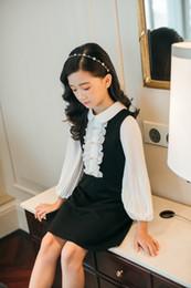 Faldas occidentales princesa online-sky_baby design pastoral Girl Autumn Princess Western Style Niños diseñador de lujo Falda Niños manga larga vestidos negros 0818