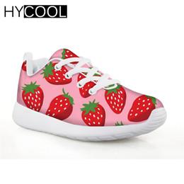 HYCOOL Zapatillas de deporte para niñas, niños, zapatos de fútbol, frutas, fresa, niños impresos, zapatos de fútbol, deporte al aire libre, calzado, niña desde fabricantes