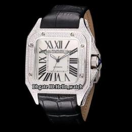 мужские большие наручные часы серебро Скидка Дешевые Новые SANTO100 X-Large W20073X8 Белый Циферблат Автоматические Мужские Часы Серебряный Бриллиант Чехол Рамка Кожаный Ремешок Высокого Качества Мужские Спортивные Часы