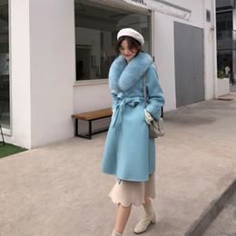Ceinture en cachemire en Ligne-Manteau en cachemire pour femmes avec col en fourrure de renard et veste en laine avec ceinture, hiver, automne, mince, dame, manteau long 2018, manteau en laine pour femmes
