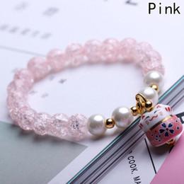 fascini in ceramica per braccialetti Sconti Braccialetto di perline naturale della porcellana di modo Braccialetto di perline di ceramica del gatto fortunato per le donne Braccialetti di perline Charms Migliori regali