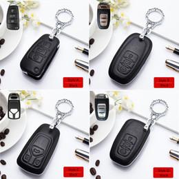 2019 tampa da tecla para q7 Couro chave do carro vermelho capa preta Shell liga de zinco Chaveiro Proteção Key Capa Para 2019 A4L Q5L A5 Q7 TTS Acessórios Interior tampa da tecla para q7 barato
