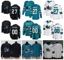 números de camisetas de hockey negro Rebajas 2019 San Jose Sharks Joonas Donskoi Camisetas de hockey Hombres New Alternate Black # 27 Joonas Donskoi Camisetas cosidas Personalizar Nombre Número