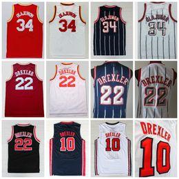 Mejores uniformes online-Mejor calidad # 34 Hakeem Olajuwon Jersey # 10 Clyde Drexler Jersey Uniforme 1992 USA Dream Team OneShirt 22 Rev 30 Nuevo material Rojo Blanco Azul