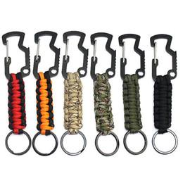 keychain geflochten Rabatt Outdoor Survival Bergsteigen Keychain Regenschirm Seil Geflochtene Zink-legierung Multifunktionskarabiner Edelstahl Schlüsselanhänger Ring M142F