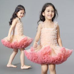 Девушки платье взъерошенное пузыря онлайн-Мода девушки пачка платье детские дополнительные пушистые день рождения платье симпатичные осень бальное платье взъерошенные пузырь платье