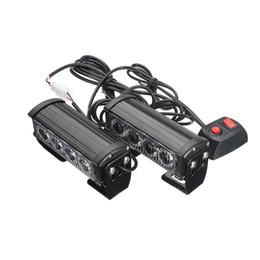 Griglia flash online-4 LED Griglia Bar Car Truck Stroboscopico Flash Emergenza Spia 12V 2Pz