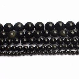"""15.5 """"Perline di ossidiana nera naturale 4,6,8,10,12,14mm Spedizione gratuita-F00074 Perle all'ingrosso da"""