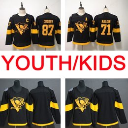 Pittsburgh hockey jersey vuoto online-Stadio Kids Kids Pittsburgh Penguin 58 Kris Letang 81 Phil Kessel 30 Murray 87 Sidney Crosby 71 Maglia da hockey con cuciture in bianco di Evgeni Malkin