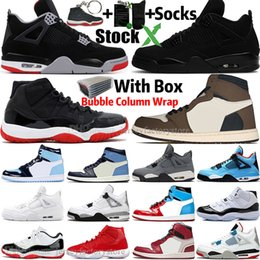 heißesten neuen sneakers Rabatt Hot 4 4s New Bred Black Cat White Cement Was die Travis Scotts 1 1s Herren-Basketball-Schuhe 11 11s reine Geld UNC-Mann-Sport Frauen Turnschuhe
