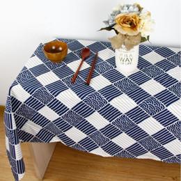mantel japonés Rebajas Inicio - Hefeng estilo sencillo comprobar mantel de algodón japonés mantel de lino de la cubierta de lino de algodón puro de grado colores blanco y azul