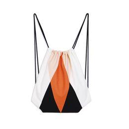 Lona mochila moda on-line-Impressão Geométrica Cordão Mochila Para As Mulheres Nova Moda Canvas Corda Saco de Tecido De Algodão Desenhar Corda Back Pack Sacos