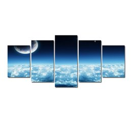 moon paintings Coupons - 5 Pcs Combinations HD Fantasy Blue Moon Sea of clouds Pattern Unframed Canvas Painting Wall Decoration Printed Oil Painting poster
