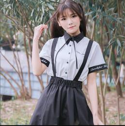 Vestido estilo pantalón niña online-Rose lolita bordado desmontable vestido lolita Babero pantalones + camisa blanca chica kawaii establece el estilo de muy buen gusto victoriano gótico loli