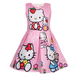 2019 горячие розовые свадебные платья ребенка Летнее платье для девочек Hello Kitty Платья для девочек Вечернее платье для девочек Cute Princess Детская одежда 2-8 лет