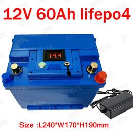 2019 bateria escondida Lítio GTK bateria 12V 60AH lifepo4 BMS 4S 12.6 V lifepo4 para 900 W armazenamento de energia Solar RV barco inversor monitor RV + 5A Carregador