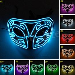 2019 lemfo bluetooth smartwatch Luz LED de Halloween EL Media cara Máscara de luz Media cara superior Brillante Cosplay Mascarada Máscaras de terror MMA2461