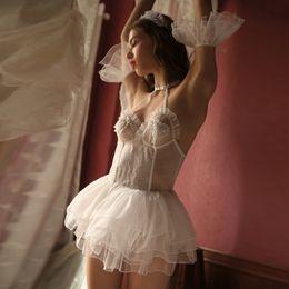 chiffon transparentes kleid weiß Rabatt Abend Hochzeit Chiffon Kleid Sweet Dream Sexy Dessous Babydoll Nachthemd Weiß Gaze Transparent Schlaf Baby Doll Dessous Y19070402