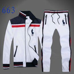 Costumi a buon mercato online-Tuta sportiva uomo autunno completo tuta sportiva tuta da uomo bianco felpa e pantalone tuta da uomo e pantaloni tuta da uomo