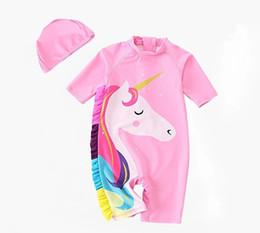 traje de baño coreano azul Rebajas Las niñas 2019 nuevos Trajes de baño de verano para niños, ropa de baño rosa para niños, ropa de exterior Unicorn, R1AC705PT-06