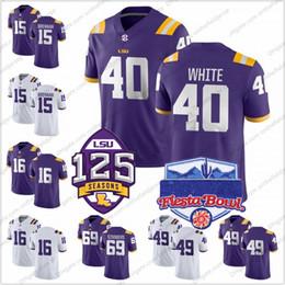a3e411e08 NCAA LSU Tigers  40 Devin White 49 Arden Key 69 Turner Simmers 15 Myles  Brennan 16 Danny Etling 125th Fiesta Bowl Football Jerseys S-3XL