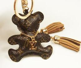 Cobre chaveiros on-line-Chaveiros Chaveiro Carro Maré Criativo PU Urso De Couro Bonito Saco Pingente de Pingente de Chave Dos Desenhos Animados Círculo Presente de Aniversário Urso pingente