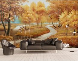 2019 3d natur tapeten 3D Wallpaper Murals Gold Herbst Deer Swan View Wandbild Leinwanddruck Bild Kunst Wand Kontakt Papier 3d Photo Wallpaper Natur rabatt 3d natur tapeten