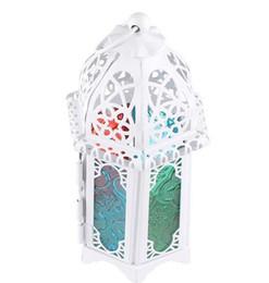 2019 linternas de vidrio de hierro Caliente clásico estilo marroquí vela titular 8.3 * 7.2 * 16.5 CM Votive hierro cristal candelabro vela linterna casa decoración de la boda linternas de vidrio de hierro baratos
