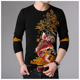 Personalisierte pullover baumwolle online-Personalisierte roten Tintenfischmusterdruck Luxus Pullover gestrickten Pullover Herbst 2018 Neue Qualität Baumwolle Mode Pullover Männer M-3XL