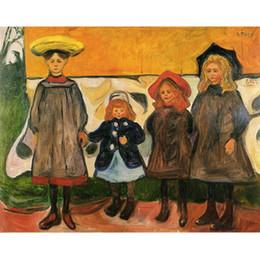 2019 abstrakte leinwand gemälde zum verkauf Wunderschöne Edvard Munch Kunstwerke zum Verkauf Vier Mädchen in Arsgardstrand abstrakte Gemälde Canvas Handmade günstig abstrakte leinwand gemälde zum verkauf