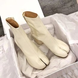 margiela leder Rabatt Heiße Verkauf-Perfekte Offizielle Qualität Maison Tabi Leder Booties Fashion Street Style Schuhe Neue Designer Split-Toe Margiela Ankle Mm6 Stiefel